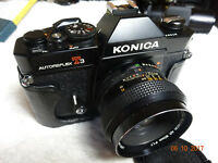 Rare Black KONICA AUTOREFLEX T3 SLR Camera With Konica Hexanon AR 50mm f/1.7