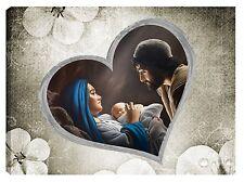 Quadro moderno 100x70 sacra famiglia madonna gesù capezzale capoletto cuore new