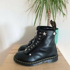 DR MARTENS SCHOTT NYC 1460 ZIP BOOTS 6 39 BLACK LEATHER VTG ANKLE STAR SINCLAIR
