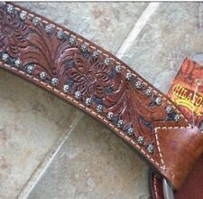 HILASON WESTERN AMERICAN LEATHER HORSE HEADSTALL BREAST COLLAR DARK BROWN BLACK