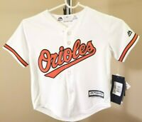 Baltimore Orioles MLB Majestic Classic White Team Logo Youth Small Jersey
