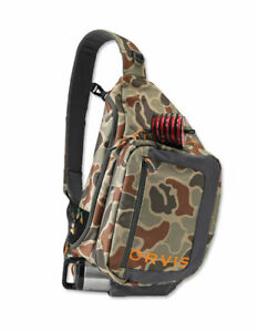 NEW ORVIS SAFE PASSAGE GUIDE SIZED FLY FISHING SLING PACK IN BROWN CAMO COLOR