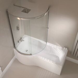 P Shape Shower Bath 1500 1700mm with Full Screen  Left or Right Hand Bathroom UK