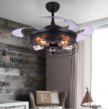 Retro Industrial Invisible Ceiling Fan Light Lamp Chandelier Pendant  Decor