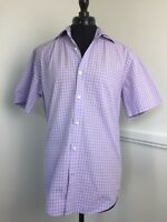 Mens Hawes & Curtis Casual Short Sleeve Cotton Shirt Blue Size Check Small 15