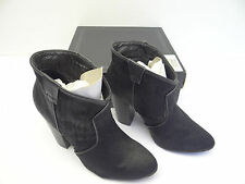 Used Deena & Ozzy Black China Black Leather D&O Pony Hair Ladies High Heel Shoes