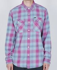 OBEY Men's CONTINENTAL Woven L/S Flannel Shirt - Pink Multi - Small - NWT
