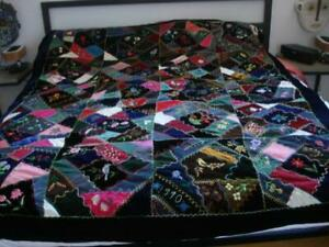 Handmade Crazy Quilt Signed G.C. C.C. 1990 Navy Blue Velvet Birds Applique Art