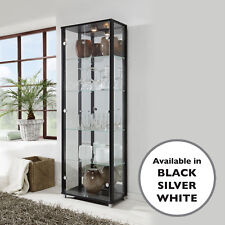 Glass Display Unit - White Black or Silver Double With Adjustable Shelves