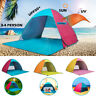 Pop Up 3-4 Person Beach Tent UV Shelter Outdoor Camping Hiking Fishing UPF50+