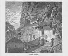 Erimitage Notre-Dame de Longeborgne Wallis HOLZSTICH von 1883 Einsiedelei
