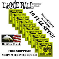 *10 PACK ERNIE BALL REGULAR SLINKY 10-46 ELECTRIC GUITAR STRINGS 2221 (10 SETS)*