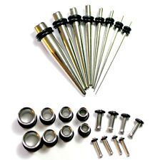 24pc Steel Ear Stretching Kit Tapers  Plugs 0g 2g 4g 8g 10g 14g tunnels gauges