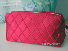 Lancome Ruby Red Diamond Quilt Satin Cosmetic Bag Purse