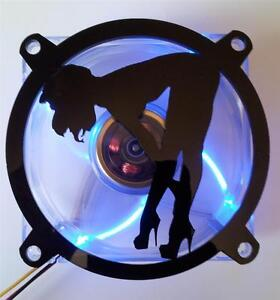 Custom 120mm SEXY GIRL BENTOVER Computer Fan Grill Gloss Black Acrylic Cooling