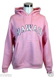 Hawaii Logo Embroidered Sweater Fleece Hoodie Sweatshirt Heavy Pink Pull Over