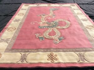 CHINESE SUPER-WASHED, DRAGON, 12' x 9', SUPER SIZE, VERY THICK...FREE DEL.