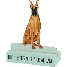 """NEW!~Wood Stand Up Shelf Sitter Dog~ """"Life Is Better With A Great Dane"""" Decor"""