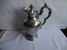 More details for antique silver plated ornate claret / water jug walker & hall height 24 cm