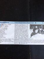 M2-2 Ephemera 1989 Small Article Review Blackrock Colin O'daly's Park Restaurant