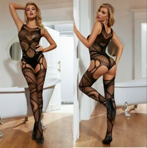 Women Fishnet Bodystocking sexy Lingerie crotchless Nightclub partywear Costumes