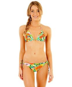NEW + TAG BILLABONG WOMENS (10) MIX UPS BIKINI SET PADDED MAUI TRI TOP BAJA PANT