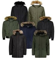 MENS JACK & JONES PARKA WINTER COAT JACKET ZIP BUTTON DETACHABLE FUR HOOD COAT