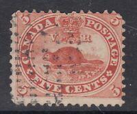 "Canada Scott #15  5 cent Beaver vermilion ""First Cents""  F"