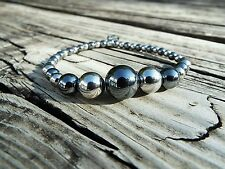 New Rustic Cuff Robyn Bracelet Beaded Silver & Gray Hematite Stainless Steel RC