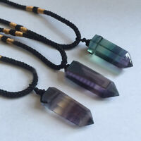 Natural Fluorite Pendant Crystal Point Necklace Hexagonal Healing Stone Jewelry