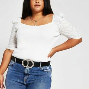 River Island Womens Plus Size Puff Sleeve Square Neck Top Cream