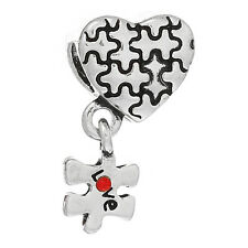 Autism Puzzle Piece Beads Awareness European Big Hole Heart Silver Lot of 10