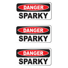 "DANGER SPARKY (3 Pack)HardHat Sticker (size: 2"" x 1"") Printed Sticker"