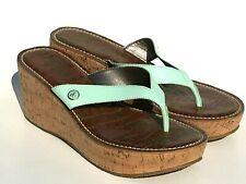 NEW Sam Edelman ROMY Size 7.5 Mint Green Cork Wedge Platform Patent Thong Sandal