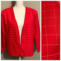 VTG Hot Pink White Windowpane Plaid Open Front Blazer Jacket 80s 90s Size 16
