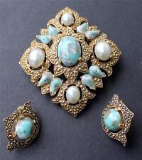 Vintage SARAH COV Goldtone Faux Pearl Blue RHOMBUS Set Brooch Clip-On Earrings