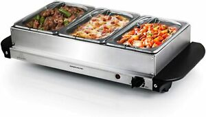 Ovente Electric Buffet Server Three Sectional Food Warmer Tray Silver FW173S