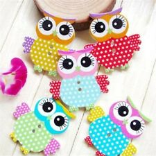 8 WOODEN OWL BUTTONS CARD MAKING SCRAPBOOKING SEWING CRAFT EMBELLISHMENTS