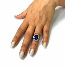 21.78 Carat Royal Blue Sapphire Cushion Cut GemStone 925 Silver Engagement Ring