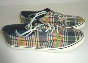 Sperry Top Sider Mens Canvas Striper CVO Plaid Sneakers 10.5 D (M) NEW