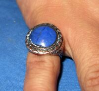 Ring Circle Gemstone Afghan Kuchi Tribal Alpaca Silver Size 10