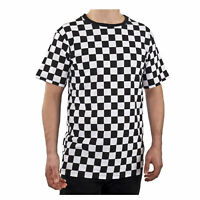 Adult Men's RAD 80's Short Sleeve PUNK Checkered Shirt Black White S M L XL 2XL