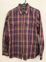 Ralph Lauren Button-Up Long Sleeve Shirt -  Purple Plaid - Women's Large