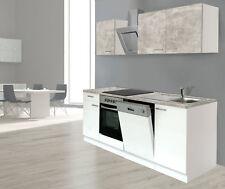 Küche Küchenzeile Küchenblock Einbauküche 220 cm weiss Beton Optik respekta