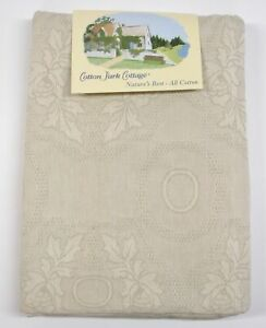 "Cotton Park Jacquard Tablecloth ~ Medallion Leaf Natural ~ 66"" x 86"" Oval *NEW*"