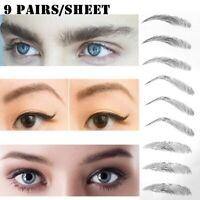 9Pair Eyebrow Sticker Waterproof Tattoo Semi-permanent Transfer Multiple Types