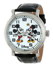 Disney Men's Kids Vintage Mickey and Minnie Mouse Black Leather Watchtop S Strap