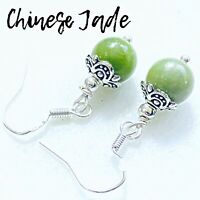 Chinese Green JADE Sterling Silver Earrings AAA Grade Gemstone Dangle Earrings