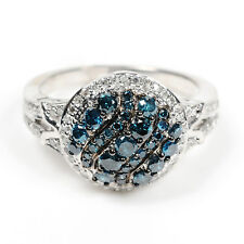 Sterling Silver 1.07ct Blue Diamond Pave Wedding Engagement Women's Ring SIZE 7