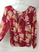 Women's S LUCKY BRAND Boho Peasant Blouse Top Floral Long Sleeves Burgundy
